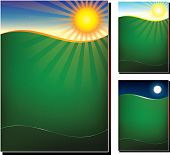 Vector illustration of green field in 3 variations