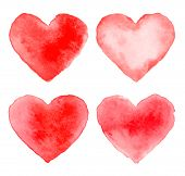 Set of Colorful Red Watercolor Hearts