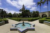 Colorful flowers and fountains in San Diego's Balboa Park.