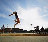 Long Jump Woman Sky Blue
