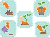 Illustration of Ready to Print Stickers Featuring Gardening Icons