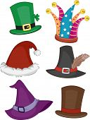 stock photo of leprechaun hat  - Illustration Featuring Different Party Hats - JPG