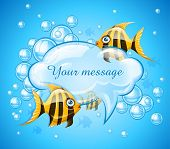 aquarium with gold fishes and bubbles cloud for message. Eps10 vector illustration