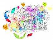 Background image with business plan colorful sketch