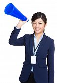 Business woman hold megaphone