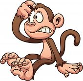 Confused cartoon monkey. Vector clip art illustration with simple gradients. All in a single layer.