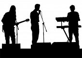 Concert of rock band on a white background