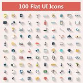 Set of modern icons in flat design with long shadows and trendy colors for banners, covers, corporat