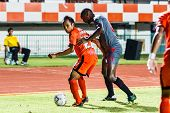 Sisaket Thailand-june 29: Jirawat Daokhao Of Sisaket Fc. (orange) In Action During Thai Premier Leag