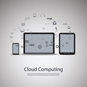 Cloud Computing and Networks Concept with Laptop Computer, Tablet and Smartphone. Eps 10 Stock Vecto