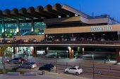 VALENCIA, SPAIN - JUNE 26, 2014: The outside area of the Valencia airport - situated 8 km from the c