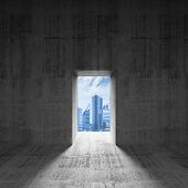 Abstract Dark Concrete Interior With Glowing Door And City View