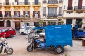 Tangier, Morocco - March 22, 2014: Old Blue Tricycle Cargo Bike On The Street Of  Tangier. This Is T
