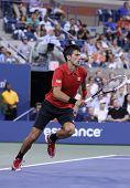 Six times Grand Slam champion Novak Djokovic during first round singles match at US Open 2013