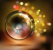 vector background with photo lens and bokeh