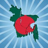 Bangladesh map flag on blue sunburst illustration