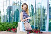 Woman on a shopping. Outdoor.
