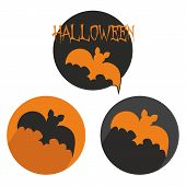 Halloween vector button set with bat. Orange and black sign isolated on white background