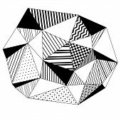 Abstract geometric striped triangles background in black and white, vector