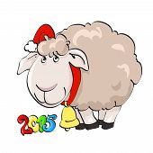 Lovely lamb in Santa's cap with bell