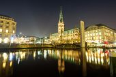 The center of Hamburg at night