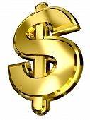 Golden Dollar Sign On White