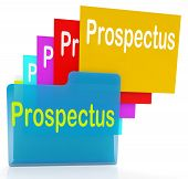 stock photo of prospectus  - Prospectus Files Indicating Describe Pamphlet And Binder - JPG