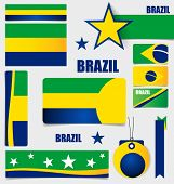 Collection of Brazil Flags, Flags concept design. Vector illustration.
