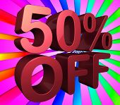 Fifty Percent Off Indicates Reduction 50 And Percentage