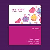 Vector colorful cupcake party horizontal corner frame pattern business cards set