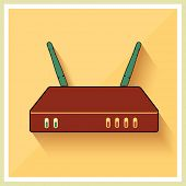 Wi-Fi Router on Yellow Retro Background Vector
