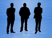 picture of person silhouette  - Illustration of Three men over a blue background - JPG