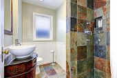 Bathroom Interior With Colorful Tile Wall Trim