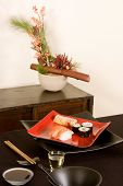 Sushi And Ikebana Flowers