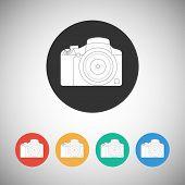 Camera icon on round background