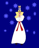 Saint Lucia figure on blue background with stars