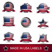 Set of made in USA labels or badges. Vector icons.