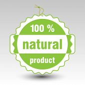 Vector Green 100 % Natural Product Paper Price Tag Label