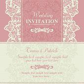 Baroque wedding invitation, pink and beige
