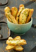 traditional Italian biscotti cookies on a wooden table
