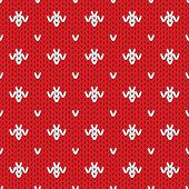Knitted pattern seamless background. Vector