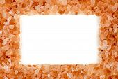 image of crystal salt  - Stylish himalayan rock salt frame with aerial white copyspace - JPG