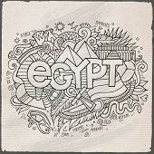 Egypt hand lettering and doodles elements background