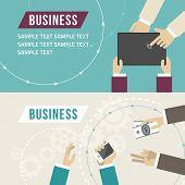 Set Of Flat Design Vector Illustrations. Business Hands Touch Digital Devices. Hand Giving Money To