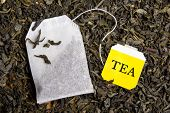 Background With Dried Black Tea And Tea Bag