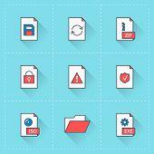 Document Icons. Vector Icon Set In Flat Design Style. For Web Site Design And Mobile Apps