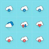 Cloud Computing Icons. Vector Icon Set In Flat Design Style. For Web Site Design And Mobile Apps