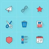 Internet communication vector icon set in flat design style. Email, calendar, ui icons