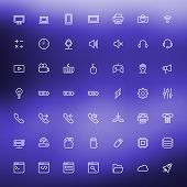 Thin Line Technology Icons Set For Web And Mobile Apps. White Icons On The Blurred Blue Background.
