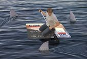 pic of loan-shark  - Man stranded on a raft made of a huge credit card in the ocean while being circled by sharks - JPG
